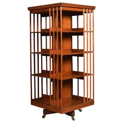 Large Walnut Revolving Bookcase