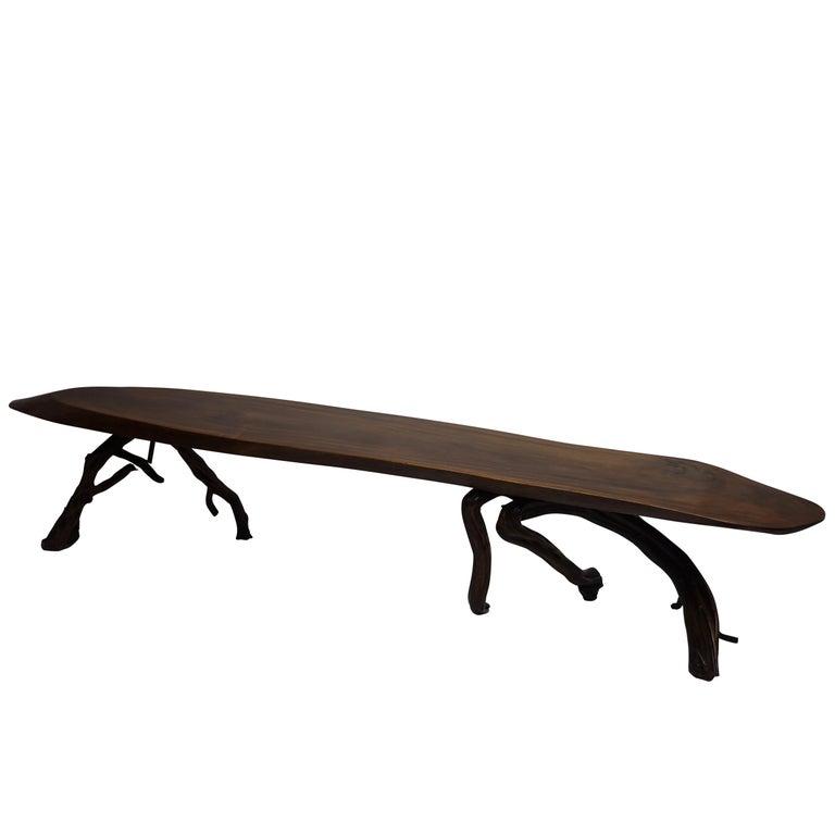 Mid Century Modern Tree Slab Coffee Table For Sale At 1stdibs: Large Walnut Slab Coffee Table, American, Mid-20th Century