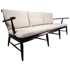 Large Walnut Wood Bench Designed by Anna-Lülja Praun in 1950s