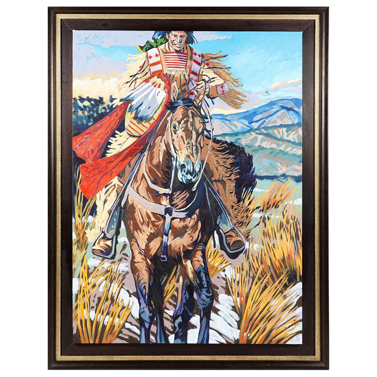 Large Walt Wooten 'Warrior on Horseback' Oil Painting