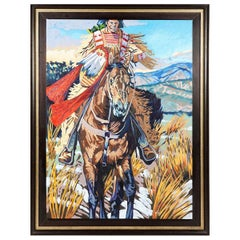 Large Walt Wooten 'Warrior on Horseback' Oil Painting