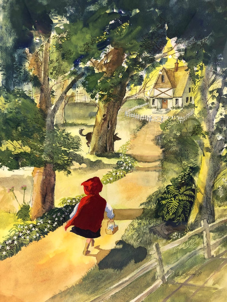A beautifully rendered watercolor and pen and ink drawing of little red riding hood, walking to her grandmother's half timbered cottage in the woods with a wolf peeking behind a tree, drawn from a high aerial viewpoint, with great attention to