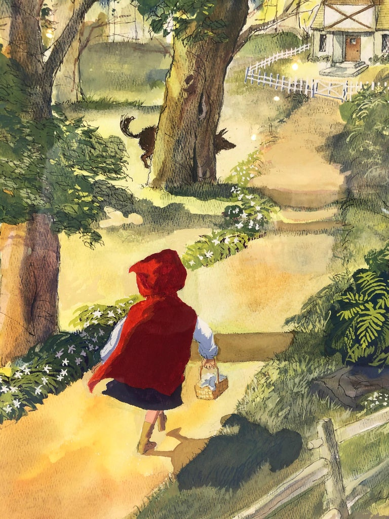 American Large Watercolor Drawing of Little Red Riding Hood by Austin Stevens For Sale