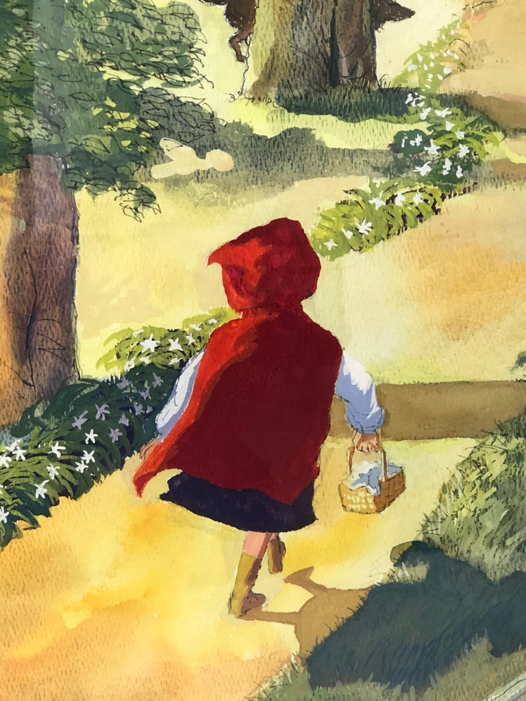 Late 20th Century Large Watercolor Drawing of Little Red Riding Hood by Austin Stevens For Sale