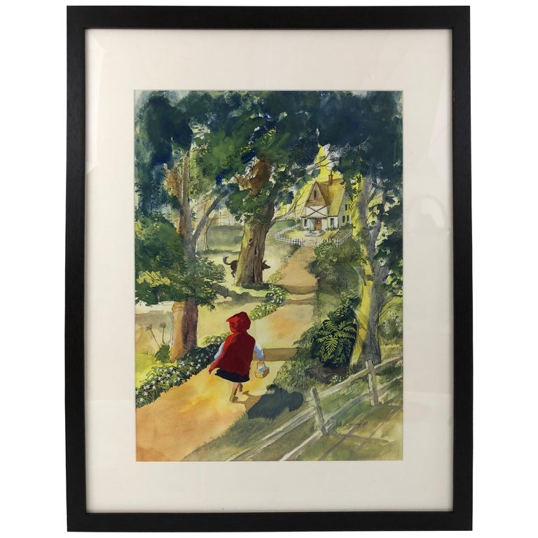 Large Watercolor Drawing of Little Red Riding Hood by Austin Stevens For Sale