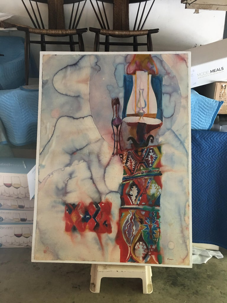 Large Watercolor Painting on hand pressed paper from a 1980s California Studio For Sale 8