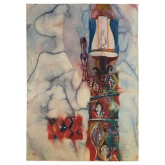 Large Watercolor Painting on hand pressed paper from a 1980s California Studio