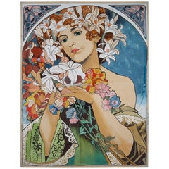 Large Watercolor Painting in the Style of Alphonse Mucha, Czech, Replubic, 1930s