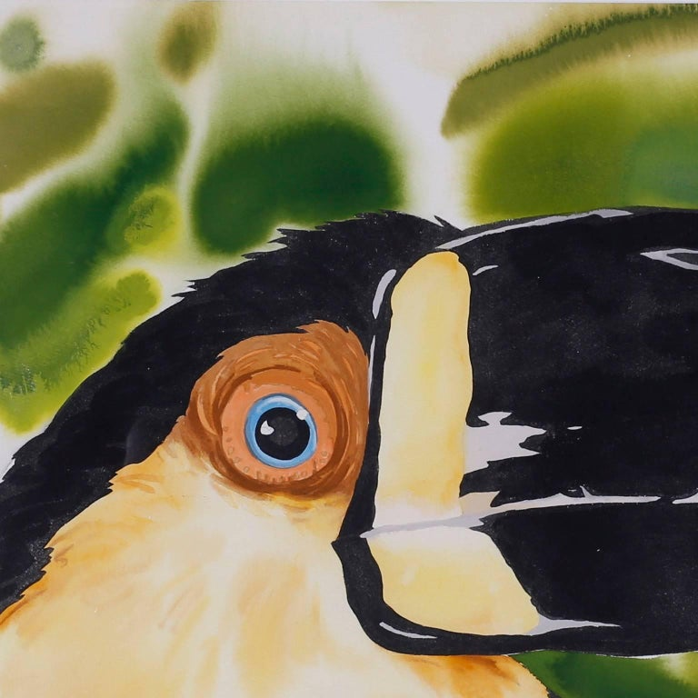 Bold watercolor painting on paper of a toucan or bird on paper with evocative tropicals colors and an amusing presence. Signed Timothy Bailey 86 on the lower right.