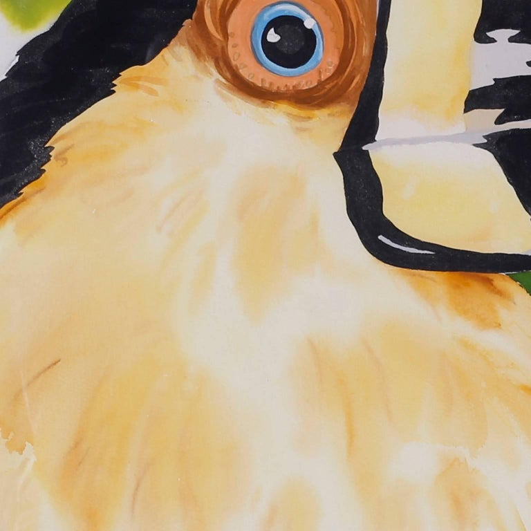Large Watercolor Painting of a Toucan In Good Condition For Sale In Palm Beach, FL
