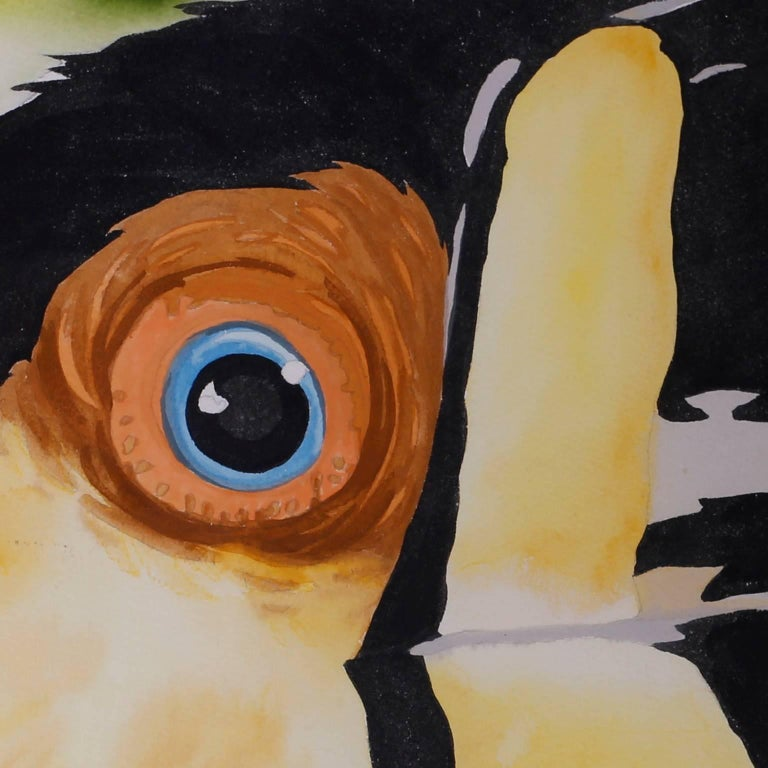 20th Century Large Watercolor Painting of a Toucan For Sale