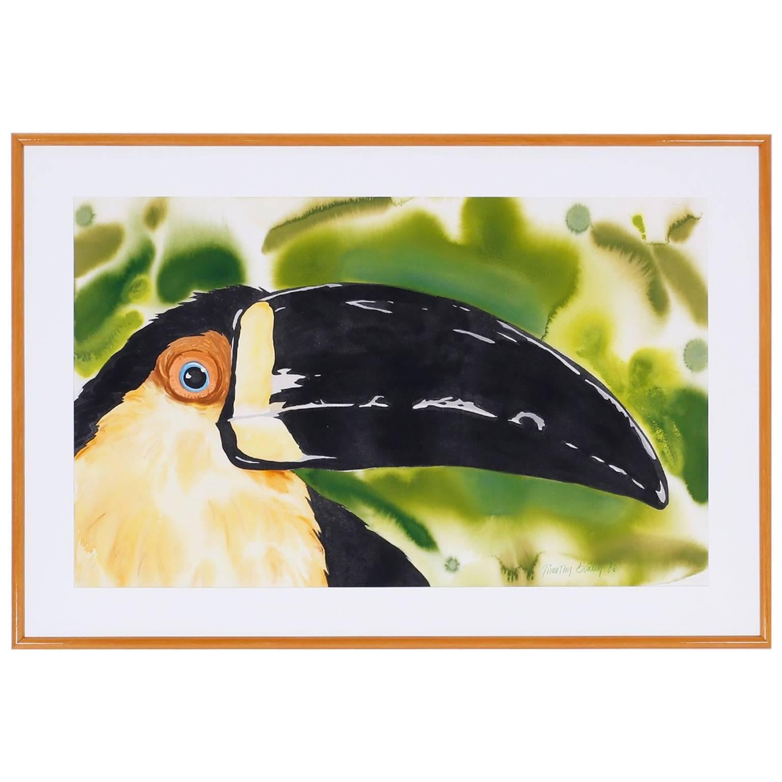 Large Watercolor Painting of a Toucan
