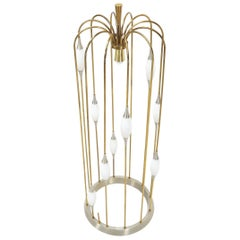 Large Waterfall Brass Floor Lamp Light Fixture