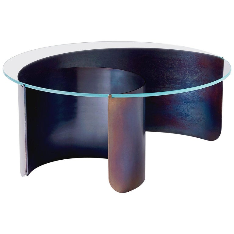 Large Wave Coffee Table in Contemporary Heat Tempered Steel and Starphire Glass For Sale