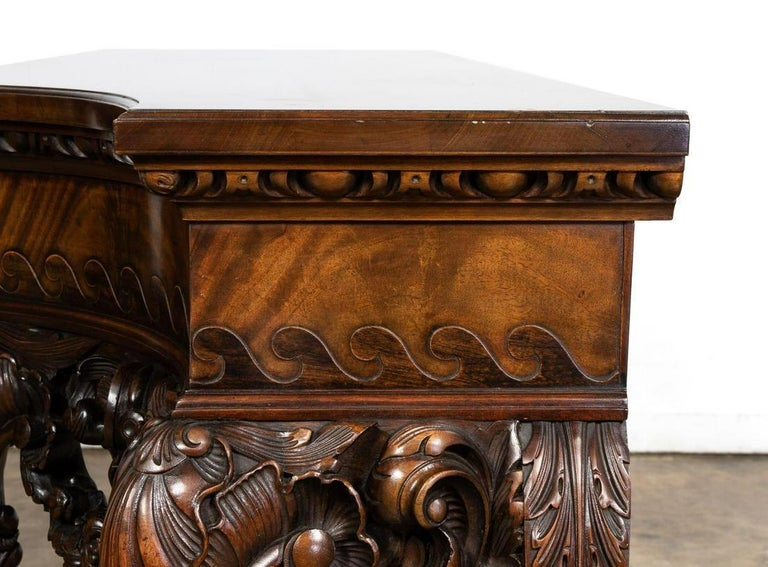 Large Well Carved Mahogany Console Table in the Irish George II Style For Sale 1