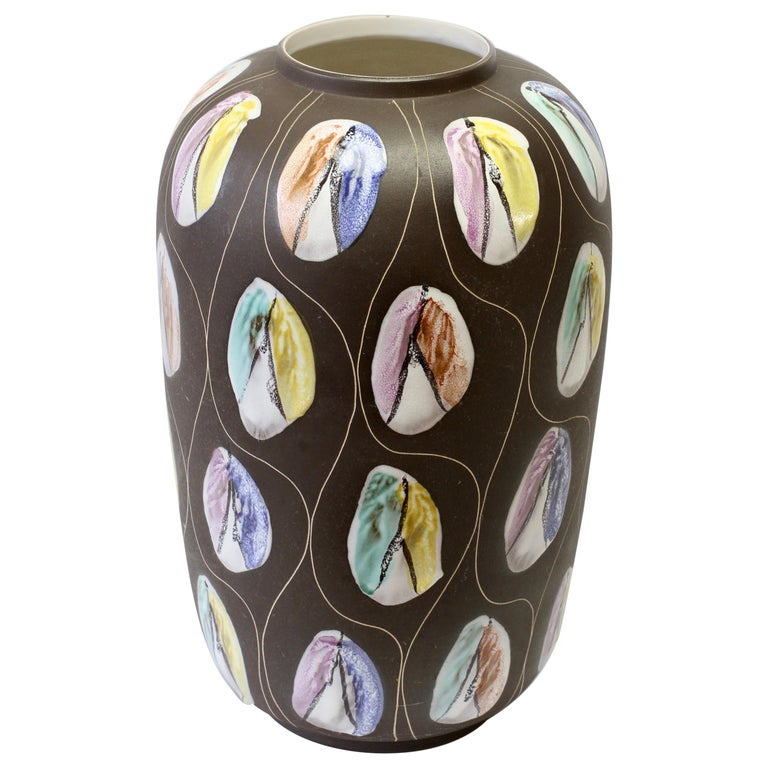 Large West German Pottery Floor Vase by Bodo Mans for Bay Keramik, circa 1959 For Sale