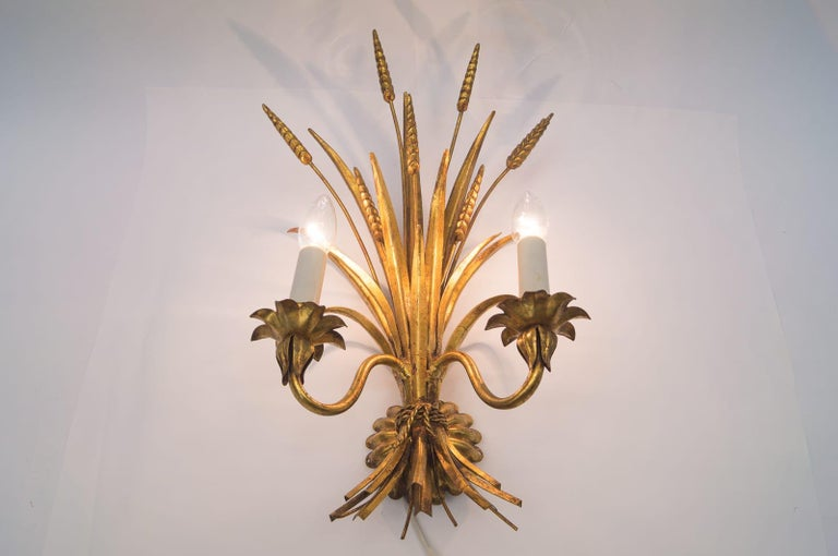 Gilt Large Wheat Sheaf Wall Light by Hans Kögl, Germany, 1970s For Sale