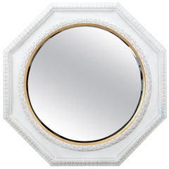 Large White and Gold Octagonal Mirror