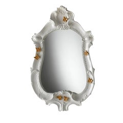 Large White Baroque Style Butterfly Mirror