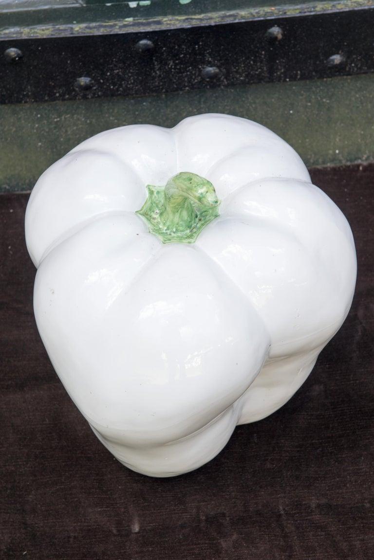 Italian Large White Ceramic Pepper, 1970s For Sale