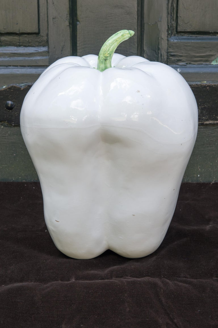 Late 20th Century Large White Ceramic Pepper, 1970s For Sale