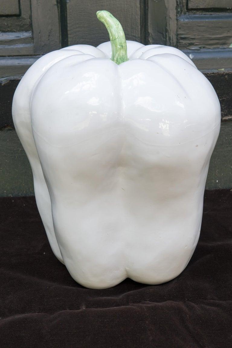Large White Ceramic Pepper, 1970s For Sale 1