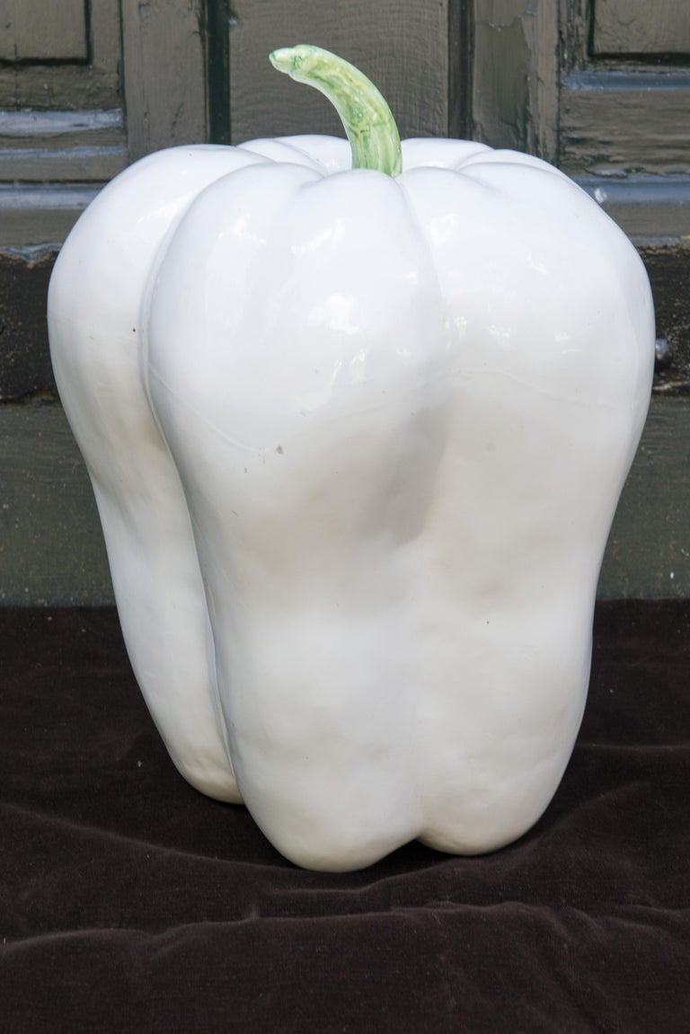Large White Ceramic Pepper, 1970s For Sale 2