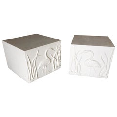 Large White Cube Pedestal Side Tables with Crane Relief, Pair of 1980s