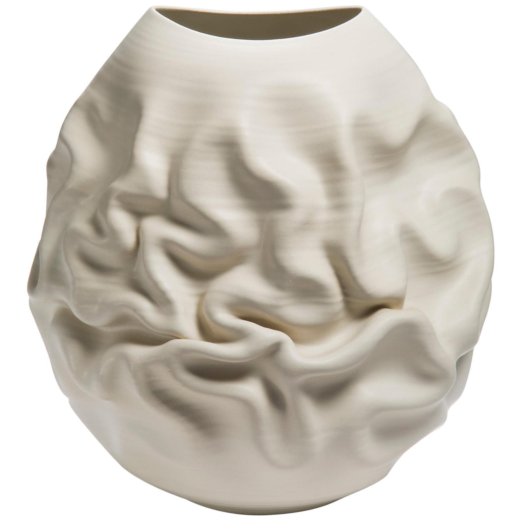 Large White Dehydrated Form No 33, Ceramic Vessel by Nicholas Arroyave-Portela