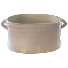 Large White French Porcelain Champagne Cooler/Ice Bucket/Planter with Handles