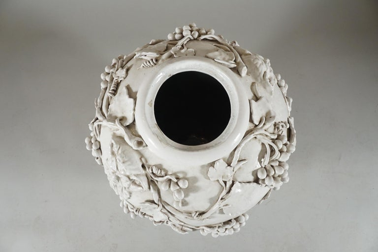 Large White Glazed Jardiniere by Vincent Garnier For Sale 2