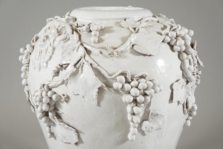 Large White Glazed Jardiniere by Vincent Garnier In Good Condition For Sale In Hudson, NY