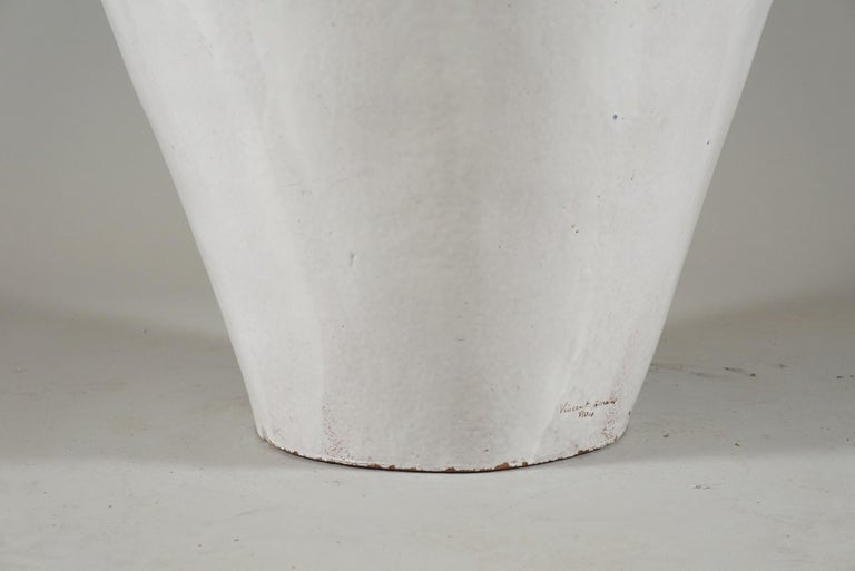 20th Century Large White Glazed Jardiniere by Vincent Garnier For Sale