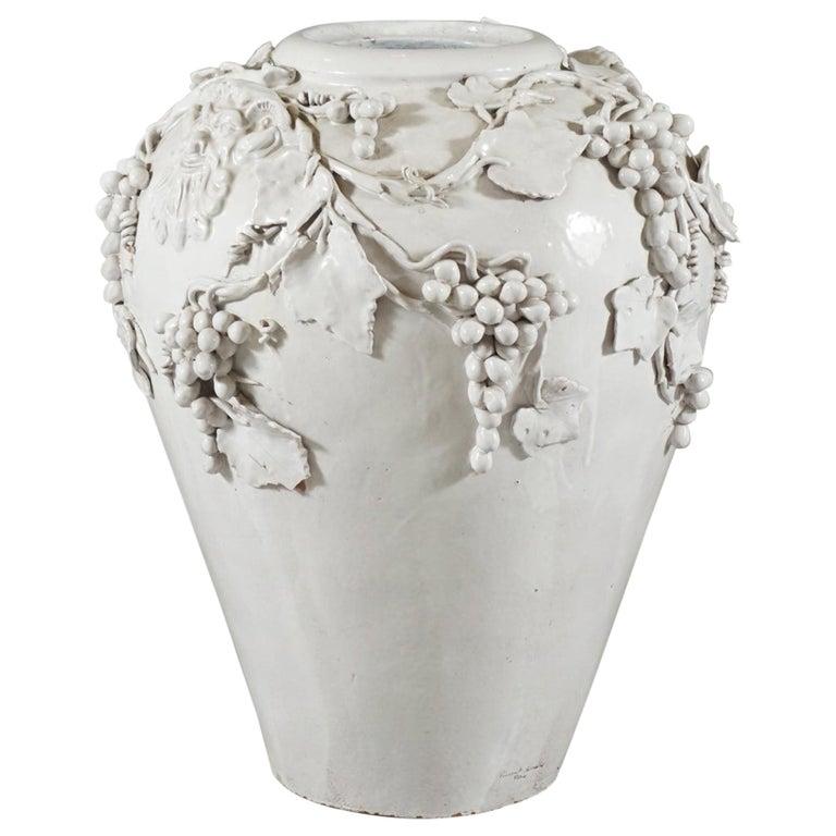 Large White Glazed Jardiniere by Vincent Garnier For Sale