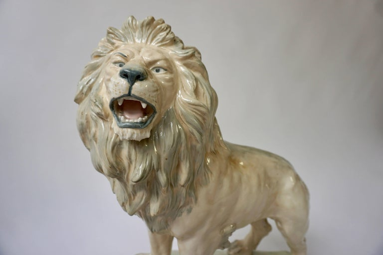 This lion sculpture with its beautiful manes and muscular tone is very well and realistically and thanks to the wonderful patina it also comes close to a lions true colors. This majestic, powerful and well fed king of the jungle stands on an base