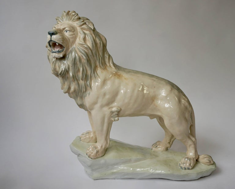 Mid-Century Modern Large White Glazed Pottery Lion Sculpture For Sale