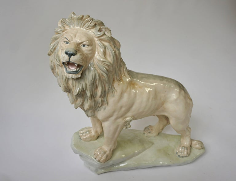 Italian Large White Glazed Pottery Lion Sculpture For Sale