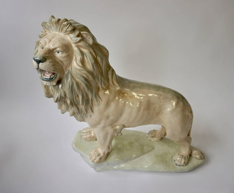 20th Century Large White Glazed Pottery Lion Sculpture For Sale