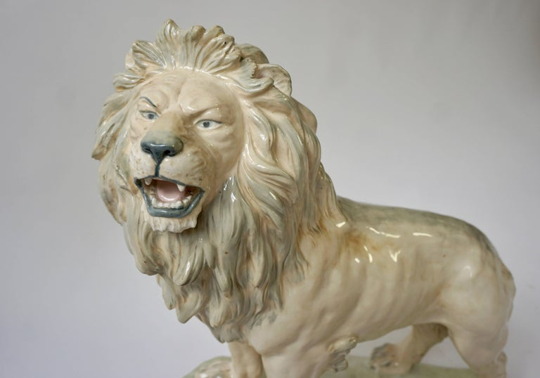 Porcelain Large White Glazed Pottery Lion Sculpture For Sale