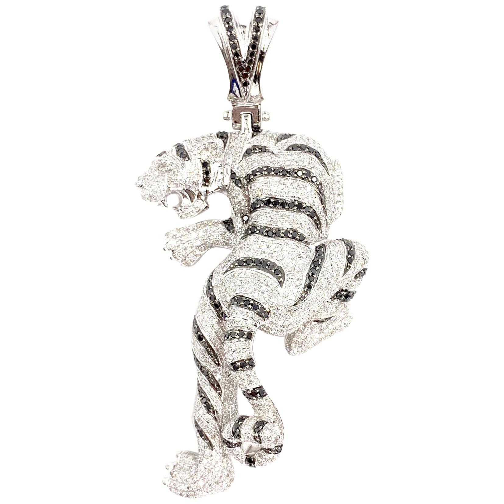Large White Gold Black and White Diamond Tiger Pendant