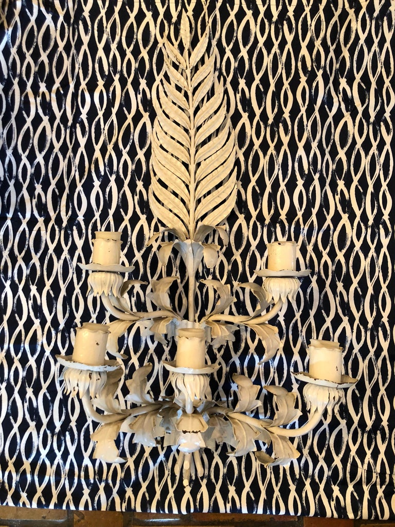 Huge White Hollywood Regency Iron wall Sconce For Sale 5