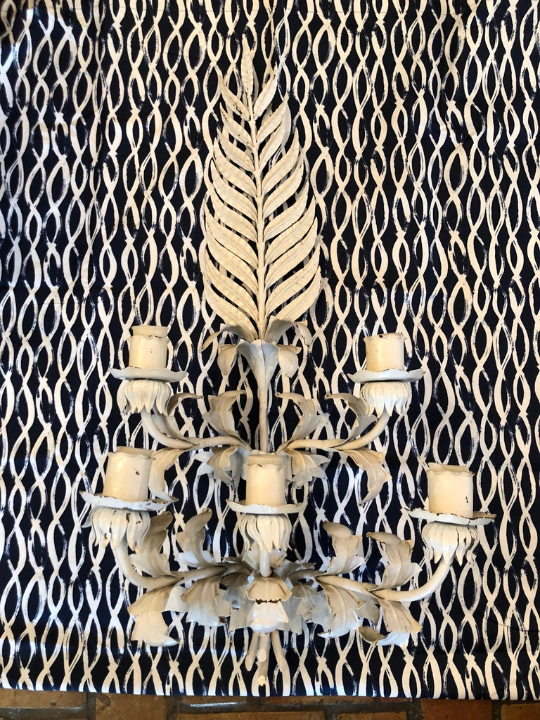 Painted Huge White Hollywood Regency Iron wall Sconce For Sale