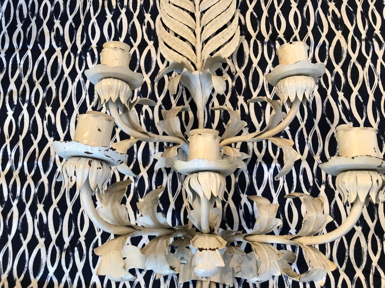 Huge White Hollywood Regency Iron wall Sconce In Good Condition For Sale In Redding, CT