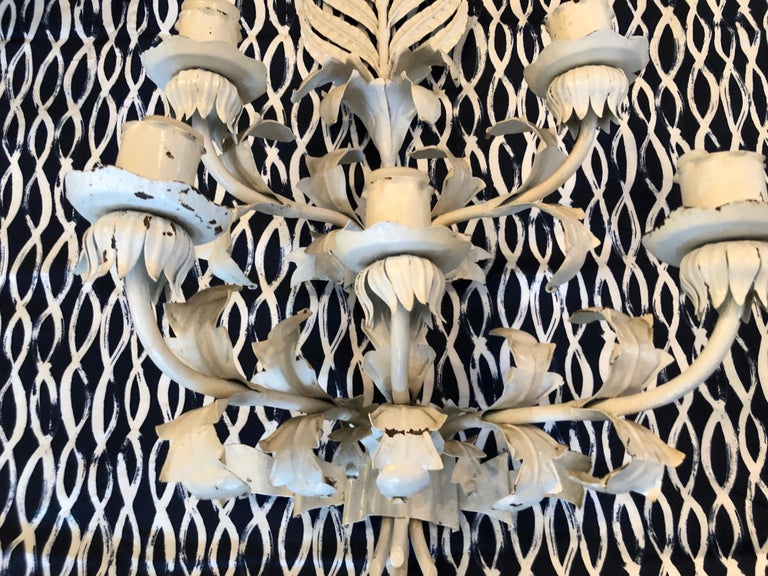 Late 20th Century Huge White Hollywood Regency Iron wall Sconce For Sale