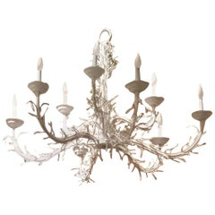 Large White Iron Nine-Light Coral Chandelier, circa 1970