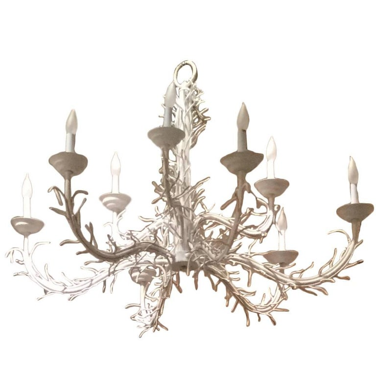 Large White Iron Nine Light Coral Chandelier, circa 1970