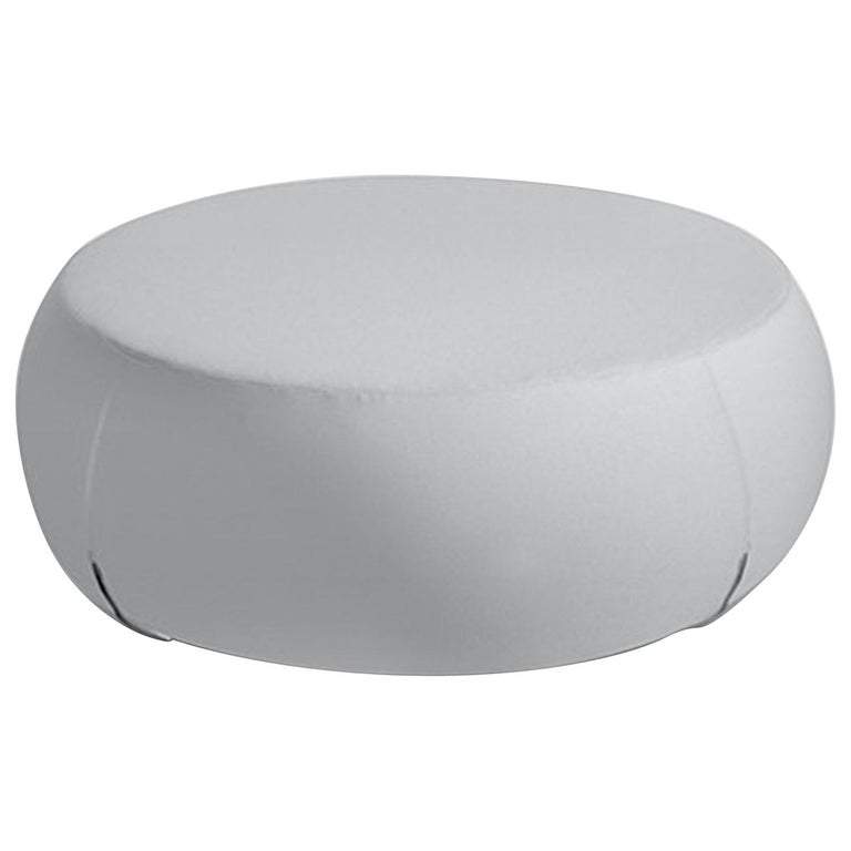 Large White Leather Multi Purpose Ottoman Pouf For Sale At