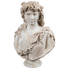 Large White Marble Bust of a Woman