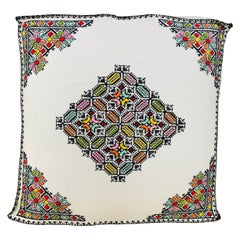 Large White Moroccan Hand Embroidered Ottoman, Cushion or Pouf