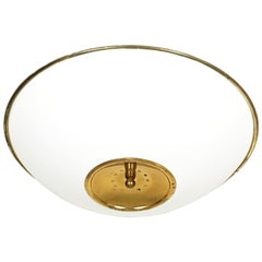 Large White Opaline Glass Shade and Brass 1970-1980 Ceiling Light